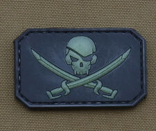 """PVC / Rubber Glow in the Dark Patch """"Jolly Roger"""" with VELCRO® brand hook"""