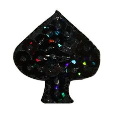ID 8588 Lot of 3 Black Sequin Poker Card Spade Gambling Iron On Applique Patch
