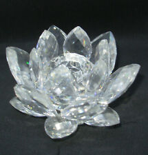 "Swarovski Silver Crystal Lotus Water Lily 4.25"" Candle Holder Footed Taper As Is"