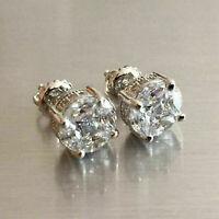2.00 Ct Round Cut VVS1 Diamond Antique Vintage Stud Earrings 14K White Gold Over