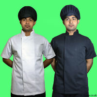 100% Cotton Short Sleeve White Black Chefs Jacket with Pen Pocket good quality