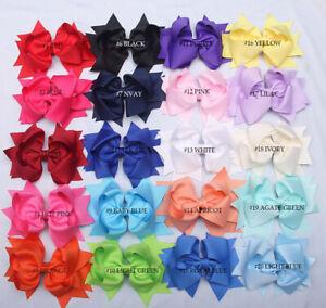 "5"" Girls Kids Boutique Hair Bow Alligator Clip Grosgrain Ribbon Hair Clips Lot"