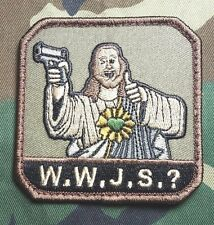 WHAT WOULD JESUS SHOOT? WWJS ARMY MILITARY MILSPEC MORALE FOREST VELCRO PATCH