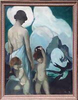 FEMME FACE A  LA COTE. HUILE / TOILE. JOAQUÍN TERRUELLA. ESPAGNE. 1920-1930.
