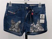 Diesel sequined jean shorts girls sz 14 super slim skinny NWT GU9
