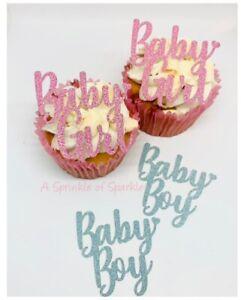 6 BABY GIRL BABY BOY GLITTER CUPCAKE TOPPERS GENDER REVEAL BABY SHOWER BIRTH