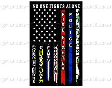 No one fights alone police  Adhesive sticker bumper windshield window bumper car