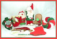 8 Vtg Xmas Sequin Decorations & Ornaments OOAK Santa Pinwheel Bell Tree Red Felt