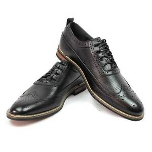 New Men's Dress Shoes Black Wing Tip Block Hill Lace New Fashion Oxford Parrazo