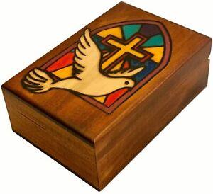 Holy Cross with Dove Church Mosaic Window Decorative Wood Box Handmade Keepsake