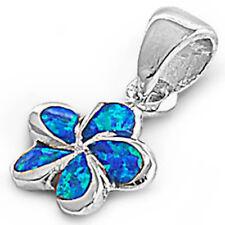 Blue Australian FIRE Opal Plumeria .925 Sterling Silver Pendant