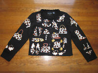 MICHAEL SIMON RARE LEOPARD CAT EMBROIDERED SHOES HATS GLOVES SWEATER M MEDIUM
