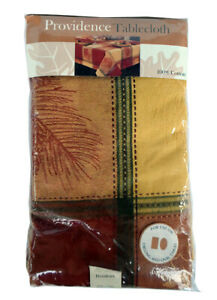 """NEW Vintage PROVIDENCE Tablecloth Fall Thanksgiving 60"""" X 84"""" Long Oval Autumn"""