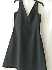 Womens LBD Size 8 Black A Line V Neck and Back Sleeveless Lined Dress Pockets