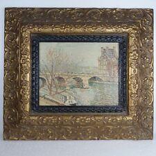 Gold Framed Oil on Canvas Painting Bridge River Landscape Pont De ? French Scene
