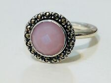 Authentic Pandora Pink Opal Stone Marcasite Ring 190617 Size 50 Retired