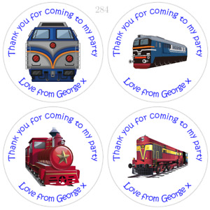 Personalised Train Birthday Stickers Labels For Party Bags and Sweet Cones