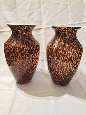 """Hand Blown Glass (Set of 2 MATCHING) Vases Large & Heavy 13 1/2"""" Tall- Beautiful"""