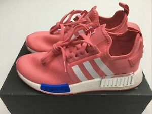 Adidas Women's NMD_R1 FX7073 Hazy Rose Pink, Glow Blue, and White Shoes Size 7