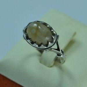 Natural Yemen Agate Sterling Silver 925  Men Ring Size 11