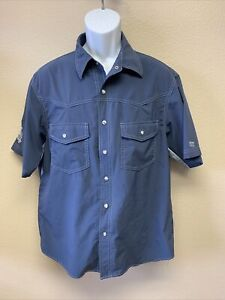 Club Ride Men's Large Pearl Snap Cycling Short Sleeve Shirt vented blue USA