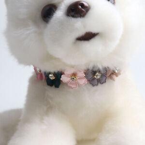Dog Cat PU Leather Collar Rhinestone Flowers Adjustable Puppy Kitten Necklace
