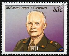 US Army General DWIGHT D. EISENHOWER WWII (Route to Victory) Stamp (2005 Fiji)
