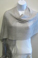 Silver Metallic Mesh Fringed Scarf Shawl Wedding Prom Pageant Dance Bridal  New