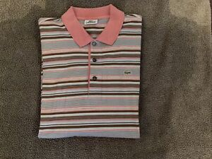 Mens Lacoste Striped Polo Shirt Size 7