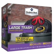 Large Trash Bags 33 Gallon Garbage Drawstring Waste Trash Can Liner - 90 Count