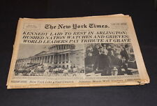 NEW YORK TIMES COMPLETE NEWSPAPER NOV 26 TH 1963 KENNEDY BURIED IN ARLINGTON