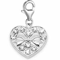 Clip on Heart with Bowknot Charm for European Jewelry with Lobster Clasp