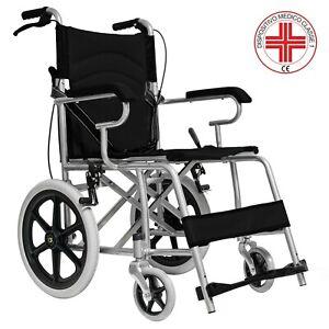 Sedia a rotelle da transito carrozzina con freno pieghevole per disabili anziani