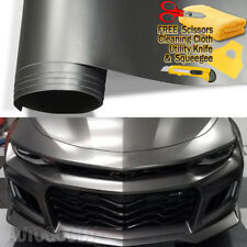 "24"" x 60"" Satin Matte Chrome Metallic Dark Gray Vinyl Film Wrap Air Bubble Free"