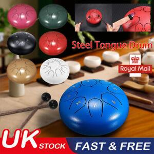 6 inch 8 Notes Steel Tongue Drum Hand Pan Drum Tank Drum Stick W/Mallets Bag UK