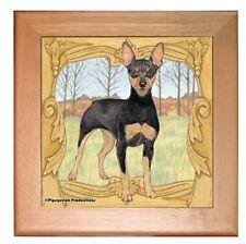 "Miniature Pinscher Min Pin Dog Kitchen Ceramic Trivet Framed in Pine 8"" x 8"""