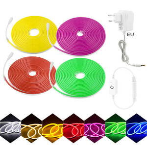 Dimmable set DC12V 6X12mm Flexible LED Strip Neon flex string  with power supply