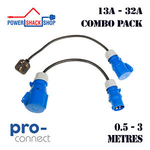 PC, ADAPTOR, Heavy Duty 13A to 16A to 32A Combo, 0.5 - 3 Metres, Tough Cable