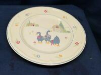 "Vintage 1987 Sango Stoneware ""Harmony"" Round Platter Goose/Barn Design"