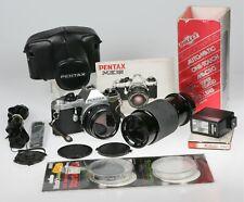MINTY Pentax ME Super 35mm Film SLR Camera 50mm f/2 SMC Lens 80-200 Tested EXTRA
