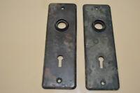 Antique Door Knob & Lock Back Plates (Lot of 2 Plates)