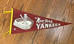 Vintage 1950's New York Yankees Maroon Felt Stadium Pennant - 4 Ties & Uncle Sam
