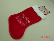 NWT Red Christmas Stocking for pet Cat Kitten Kitty On the Nice List New Unused