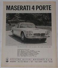 Advert Pubblicità 1966 MASERATI 4 PORTE QUATTROPORTE