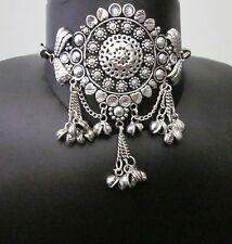 Metal Filigree Black Cord Gothic Boho Gypsy Kuchi Afghan Vintage Choker Necklace