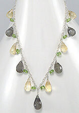 "17"" Solid Sterling Silver Yellow Citrine Green Laboradorite Briolettes Necklace"