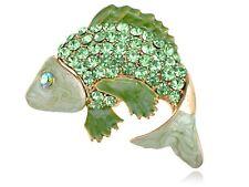 Peridot Green Crystal Rhinestone Jumping Carp Koi Fish LJH Jewel Pin Brooch