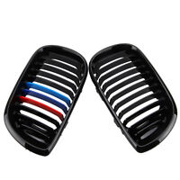 2x Gloss Black M-color Kidney Grille Grill For E46 3 Series 4 Door Sedan 2002-05