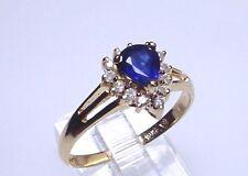 Elegant Genuine Sapphire Solid 14 kt Gold Ring (#1747)