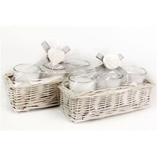 Shabby Chic Willow Basket Rose Water Scented Candle Pot Set